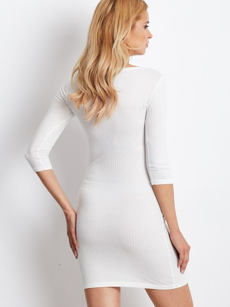 Ecru sukienka w prążek z dekoltem lace up                              zdj.                              4