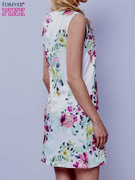 Ecru sukienka w zielone kwiaty                                  zdj.                                  3