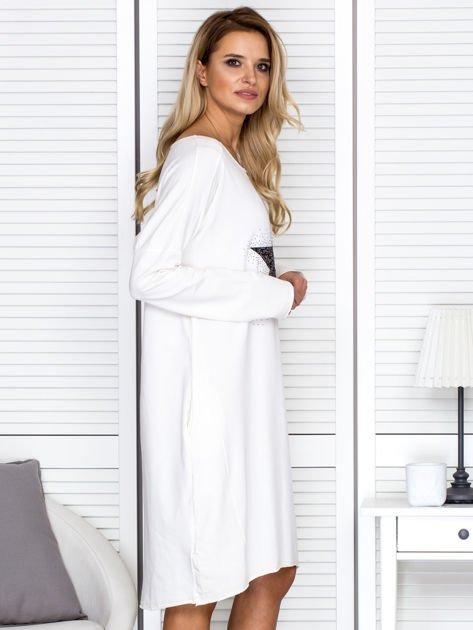 Ecru sukienka z gwiazdą                               zdj.                              3