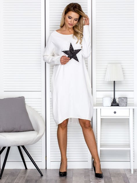 Ecru sukienka z gwiazdą                                   zdj.                                  4