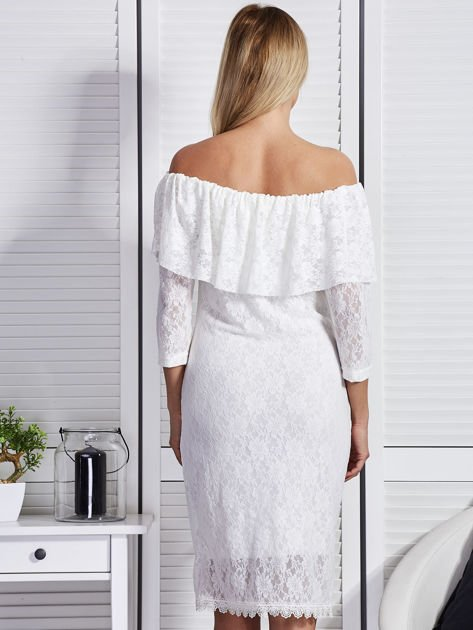 Ecru sukienka z hiszpańskim dekoltem                              zdj.                              2