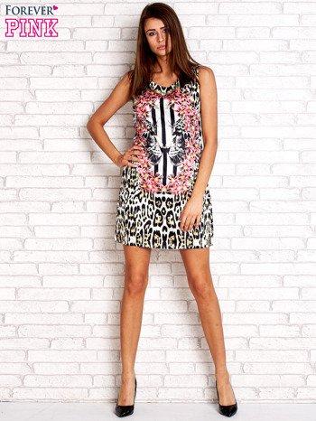 Ecru sukienka z motywem pantery                                  zdj.                                  4