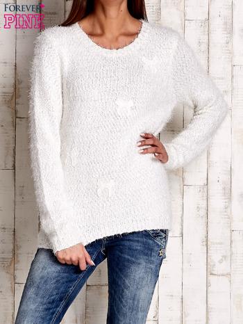 Ecru sweter long hair z kokardkami                                  zdj.                                  1