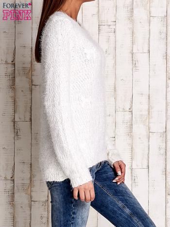 Ecru sweter long hair z kokardkami                                  zdj.                                  3