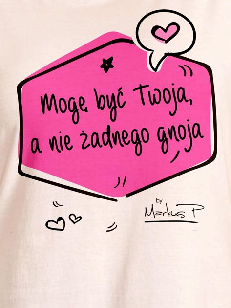 Ecru t-shirt damski MOGĘ BYĆ TWOJA by Markus P                                  zdj.                                  2