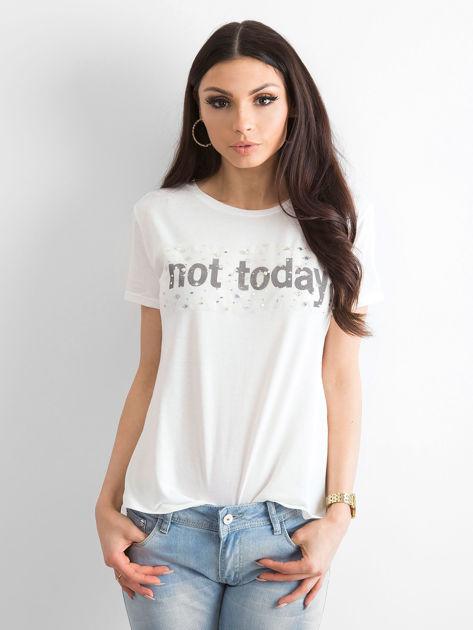 Ecru t-shirt damski NOT TODAY                              zdj.                              3