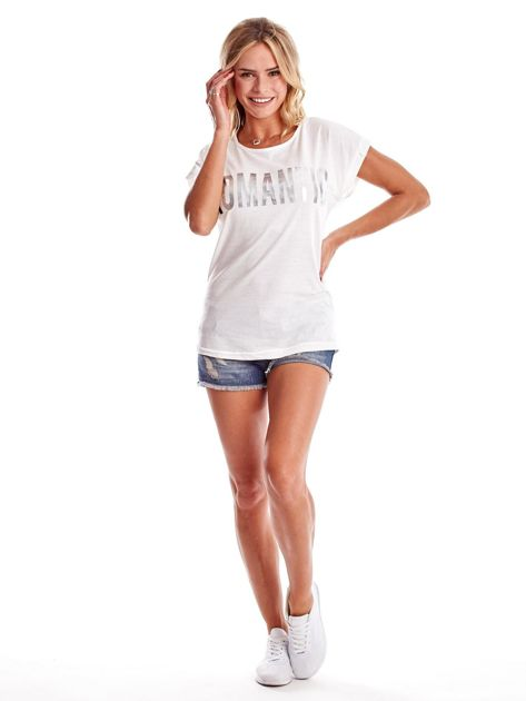 Ecru t-shirt damski ROMANTIC                              zdj.                              4