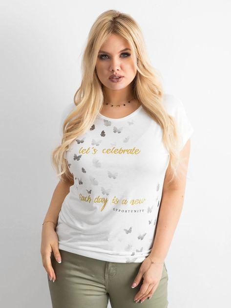 Ecru t-shirt damski z nadrukiem PLUS SIZE                              zdj.                              1