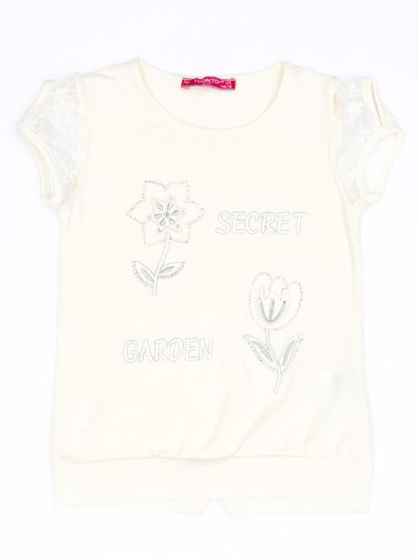 Ecru t-shirt dla dziewczynki z kwiatami                              zdj.                              1