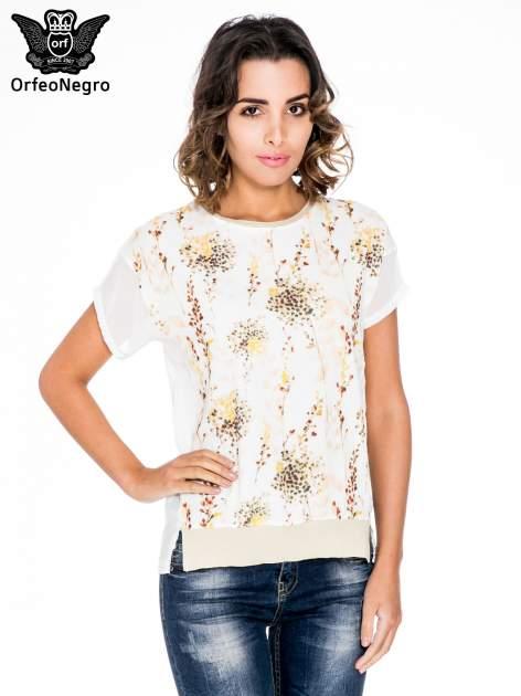 Ecru t-shirt w kwiaty z łączonych materiałów                                  zdj.                                  1