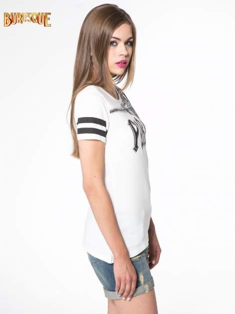 Ecru t-shirt z motywem Paryża                                  zdj.                                  3