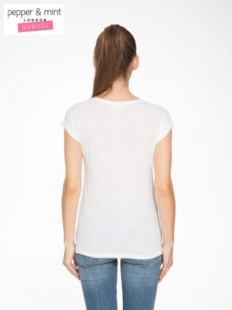 Ecru t-shirt z motywem astralnym                                  zdj.                                  4