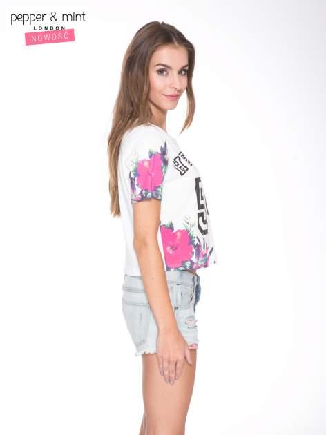 Ecru t-shirt z nadrukiem HEAVEN 54 w stylu eclectic                                  zdj.                                  3