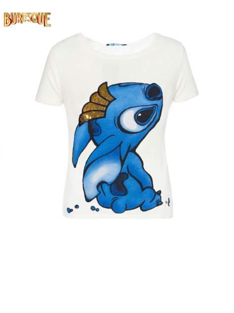 Ecru t-shirt z nadrukiem Stich