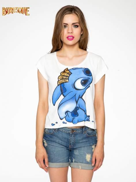 Ecru t-shirt z nadrukiem Stich                                  zdj.                                  11
