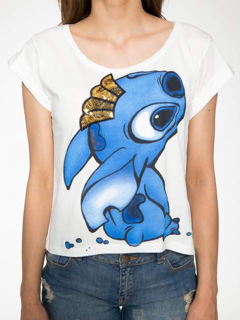 Ecru t-shirt z nadrukiem Stich                                  zdj.                                  7