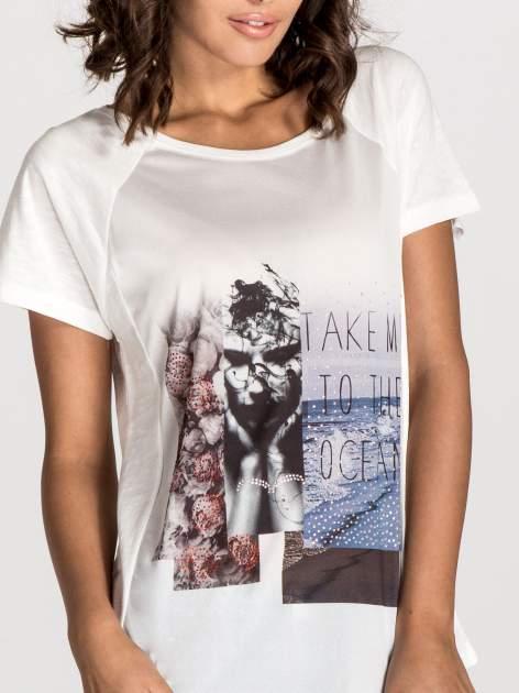 Ecru t-shirt z nadrukiem TAKE ME TO THE OCEAN z dżetami                                  zdj.                                  5