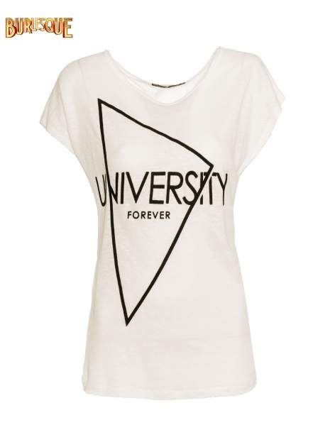 Ecru t-shirt z nadrukiem UNIVERSITY FORVER                                  zdj.                                  1