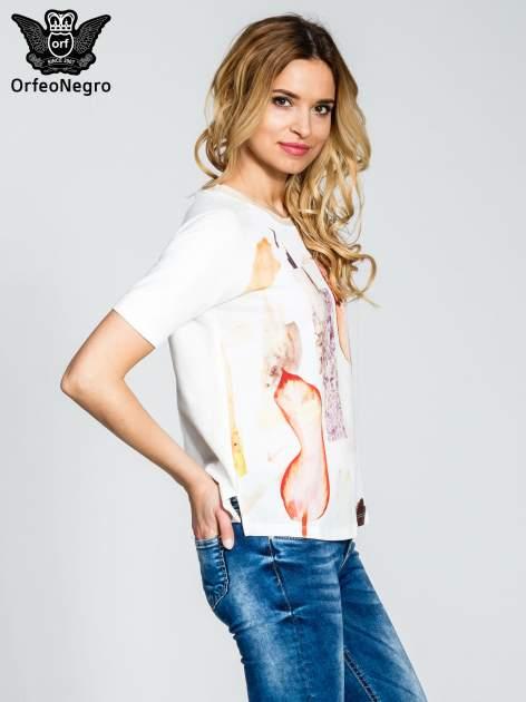 Ecru t-shirt z nadrukiem all over floral print                                  zdj.                                  3