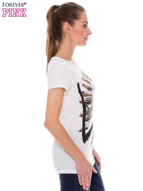 Ecru t-shirt z nadrukiem indianina                                  zdj.                                  2