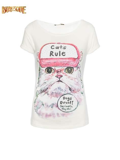 Ecru t-shirt z nadrukiem kota i napisem CATS RULE
