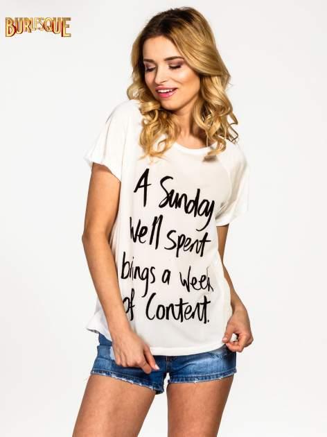 Ecru t-shirt z napisem A SUNDAY                                  zdj.                                  1