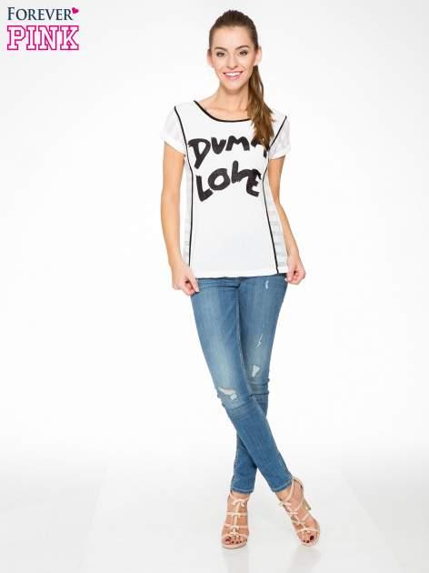 Ecru t-shirt z napisem DUMA LOVE                                  zdj.                                  5