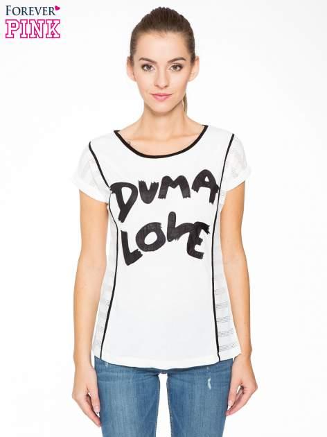 Ecru t-shirt z napisem DUMA LOVE                                  zdj.                                  1