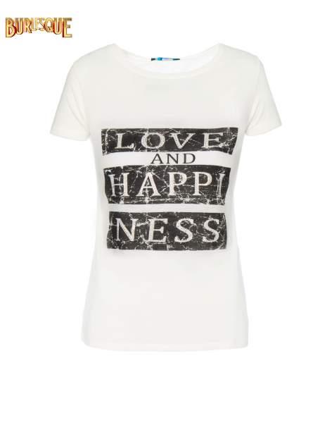 Ecru t-shirt z napisem LOVE AND HAPPINESS                                  zdj.                                  1