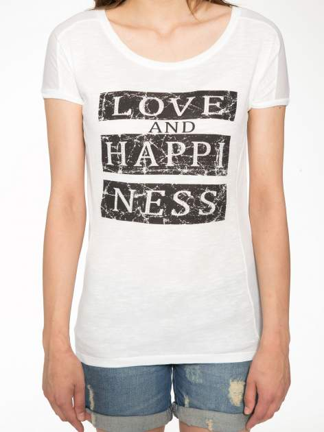 Ecru t-shirt z napisem LOVE AND HAPPINESS                                  zdj.                                  7