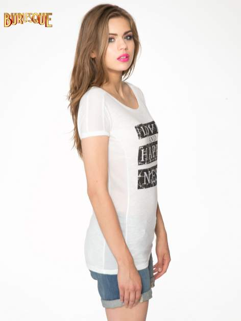 Ecru t-shirt z napisem LOVE AND HAPPINESS                                  zdj.                                  3