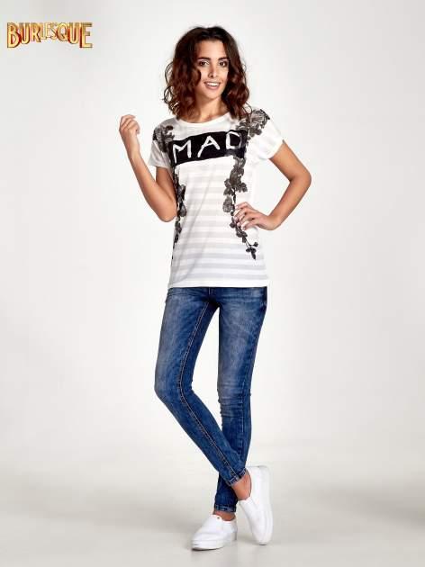 Ecru t-shirt z napisem MAD i kwiatowym nadrukiem                                  zdj.                                  7