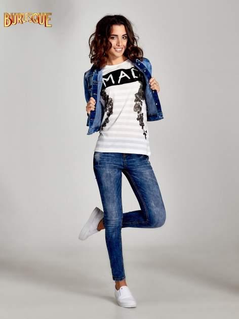 Ecru t-shirt z napisem MAD i kwiatowym nadrukiem                                  zdj.                                  2