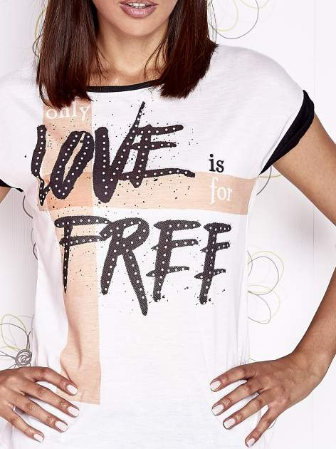 Ecru t-shirt z napisem ONLY LOVE IS FOR FREE                                  zdj.                                  5
