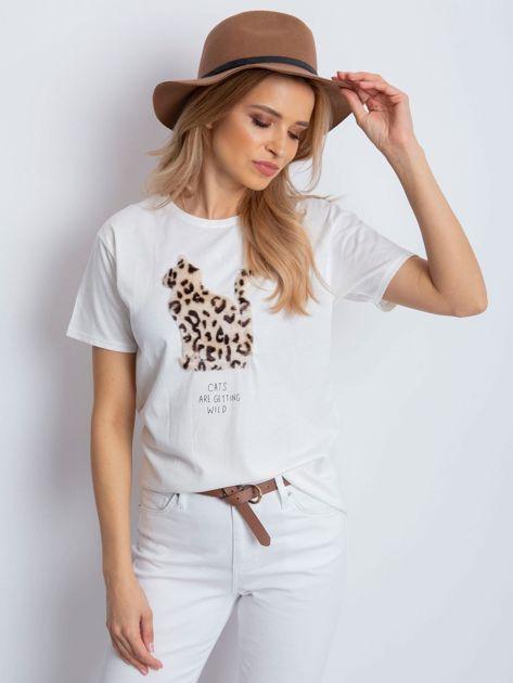 Ecru t-shirt z pluszowym kotem                                  zdj.                                  1