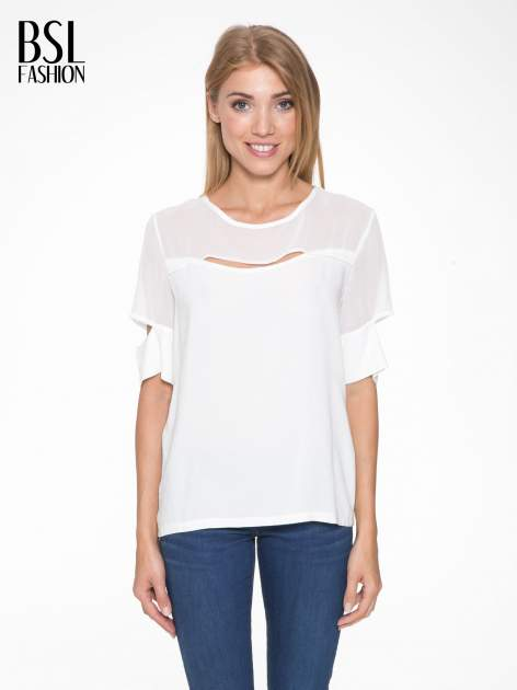 Ecru t-shirt z siateczką i rękawami typu cut out shoulder