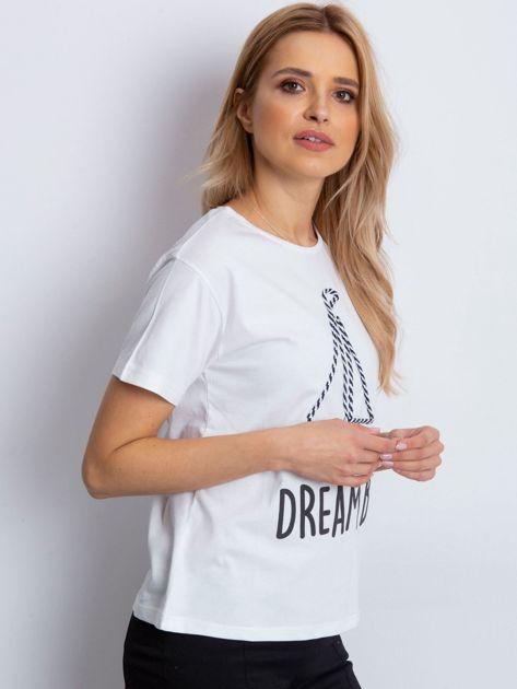 Ecru t-shirt z żaglówką                              zdj.                              3