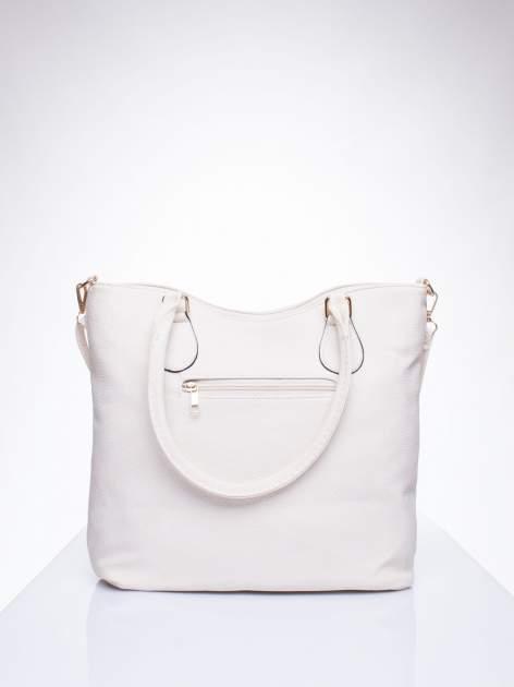 Ecru torba shopper bag ze złotymi okuciami przy rączkach                                  zdj.                                  3