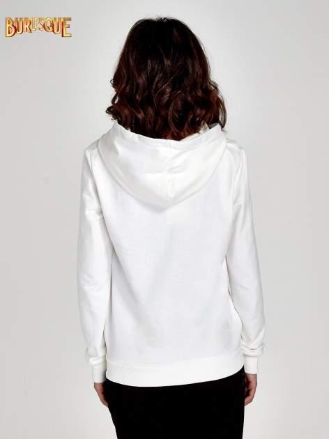 Ecru zasuwana bluza z kapturem z napisem STYLISH & LOVABLE