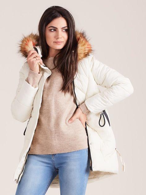 Ecru zimowa damska kurtka                              zdj.                              6