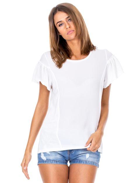 Ecru zwiewna bluzka damska