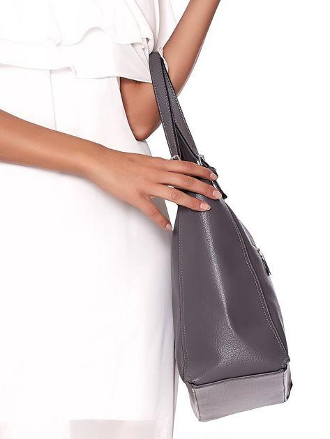 Elegancka ciemnoszara torba z eko skóry z logo                              zdj.                              4