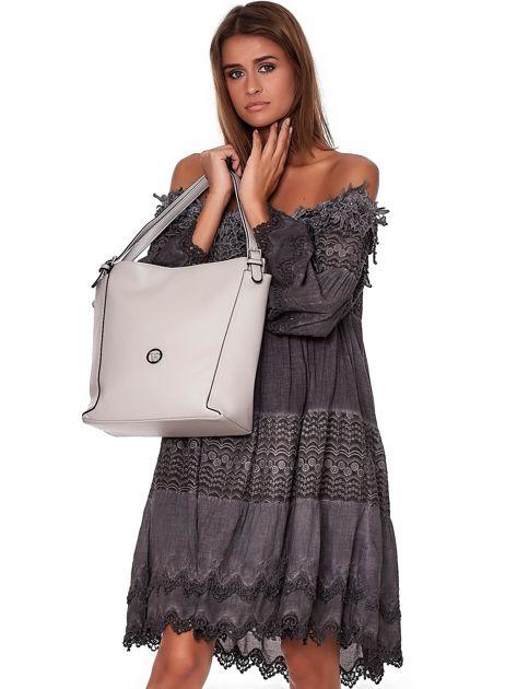 Elegancka jasnoszara torba z eko skóry z logo                              zdj.                              1