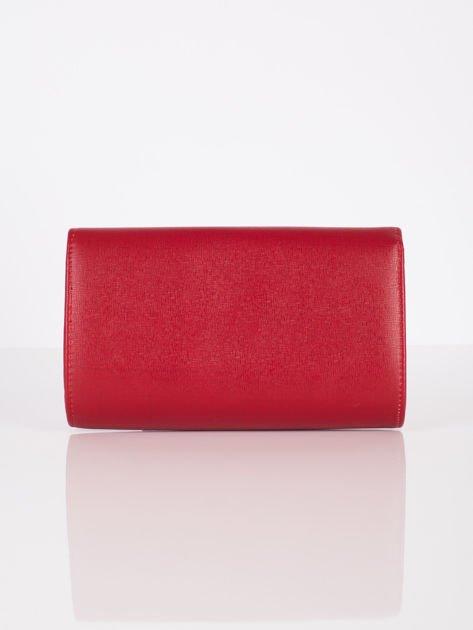 Elegancka kopertówka z ozdobnym zapięciem ciemno czerwona                              zdj.                              3