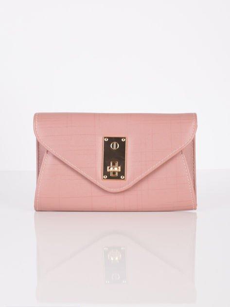 Elegancka kopertówka z ozdobnym zapięciem pudrowo różowa                              zdj.                              2