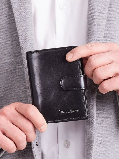Elegancki pionowy portfel męski czarny                              zdj.                              1
