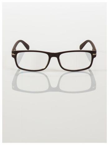 Eleganckie brązowe matowe korekcyjne okulary do czytania +4.0 D  z sytemem FLEX na zausznikach                                  zdj.                                  3