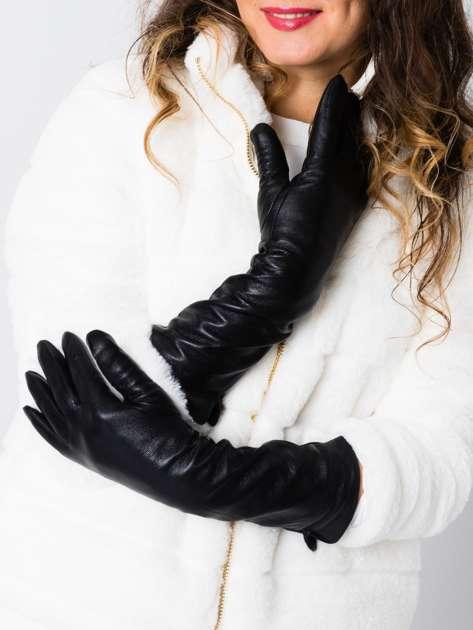 Eleganckie długie czarne skórzane rękawiczki damskie (40cm)