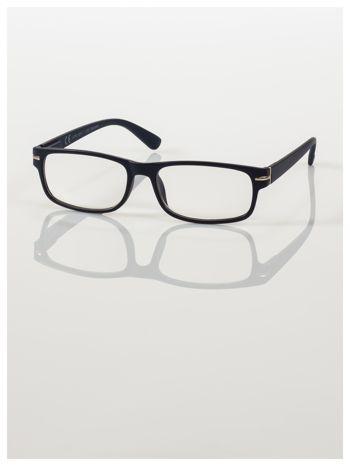 Eleganckie granatowe matowe korekcyjne okulary do czytania +1.5 D  z sytemem FLEX na zausznikach