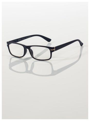 Eleganckie granatowe matowe korekcyjne okulary do czytania +3.0 D  z sytemem FLEX na zausznikach                                  zdj.                                  1